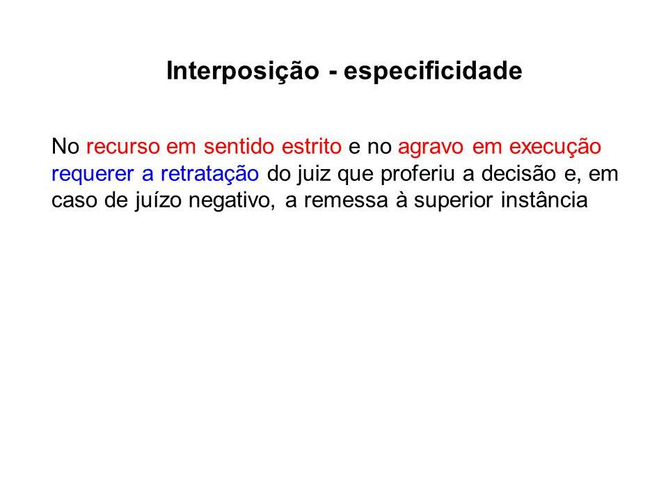 Interposição - especificidade