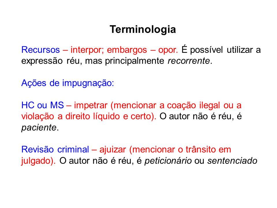 Terminologia Recursos – interpor; embargos – opor. É possível utilizar a expressão réu, mas principalmente recorrente.