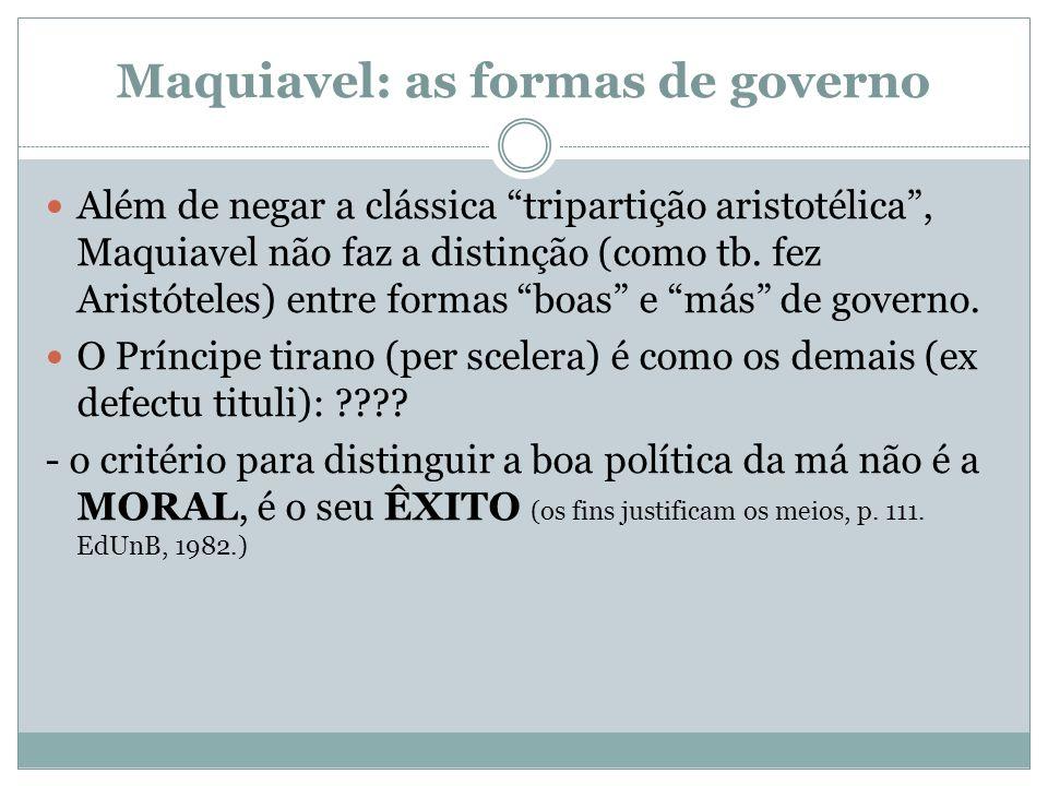 Maquiavel: as formas de governo