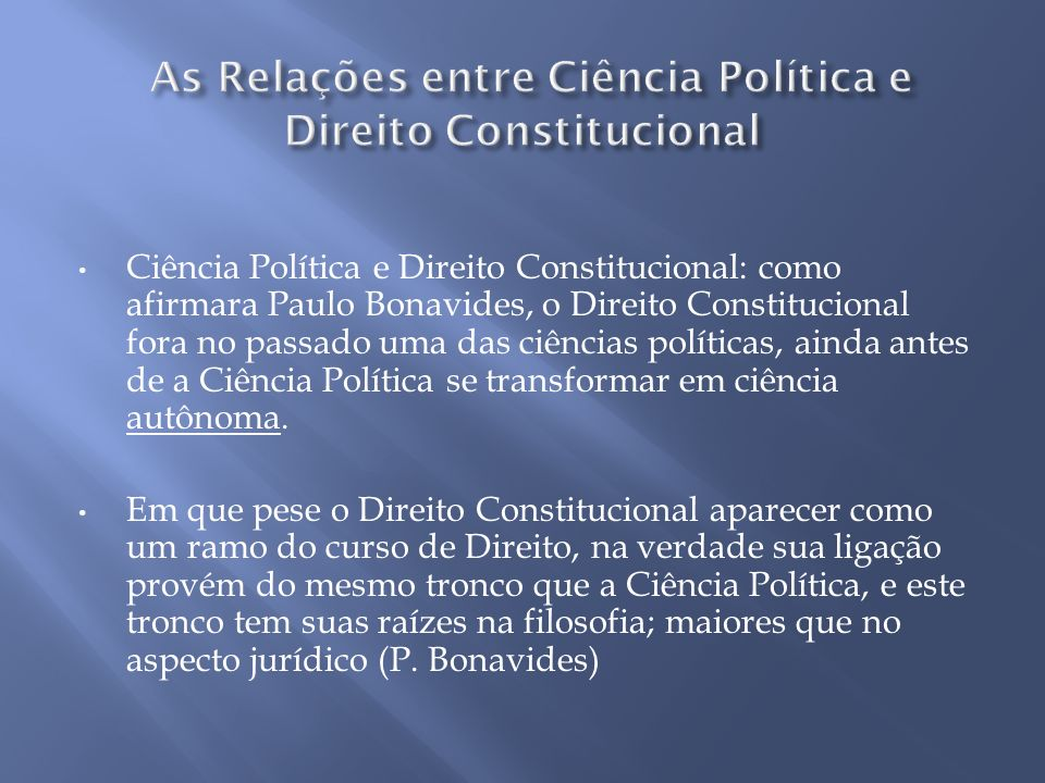 As Relações entre Ciência Política e Direito Constitucional