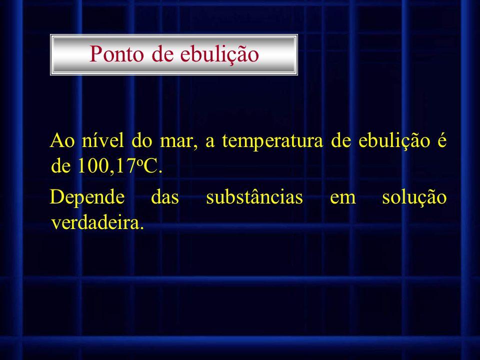 Ponto de ebulição Ao nível do mar, a temperatura de ebulição é de 100,17oC.