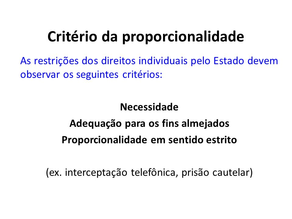 Critério da proporcionalidade