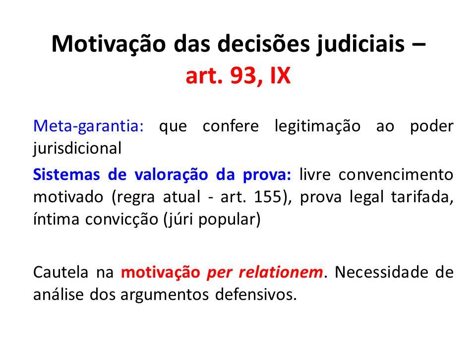 Motivação das decisões judiciais – art. 93, IX
