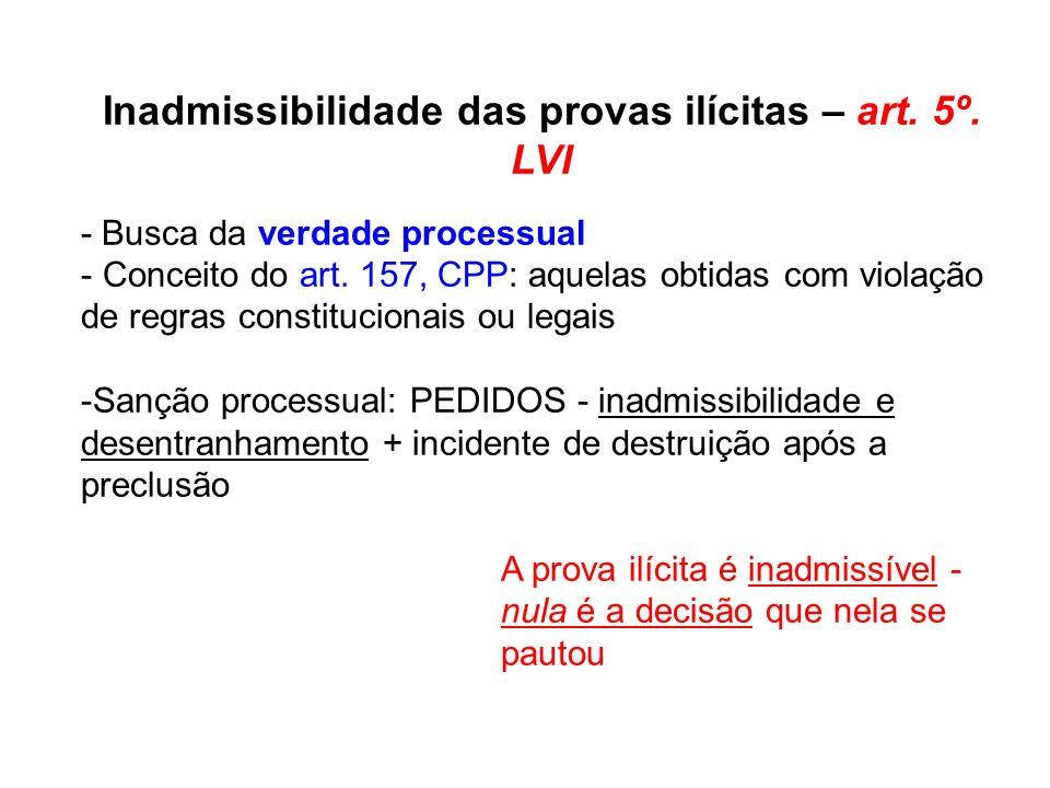 Inadmissibilidade das provas ilícitas – art. 5º. LVI