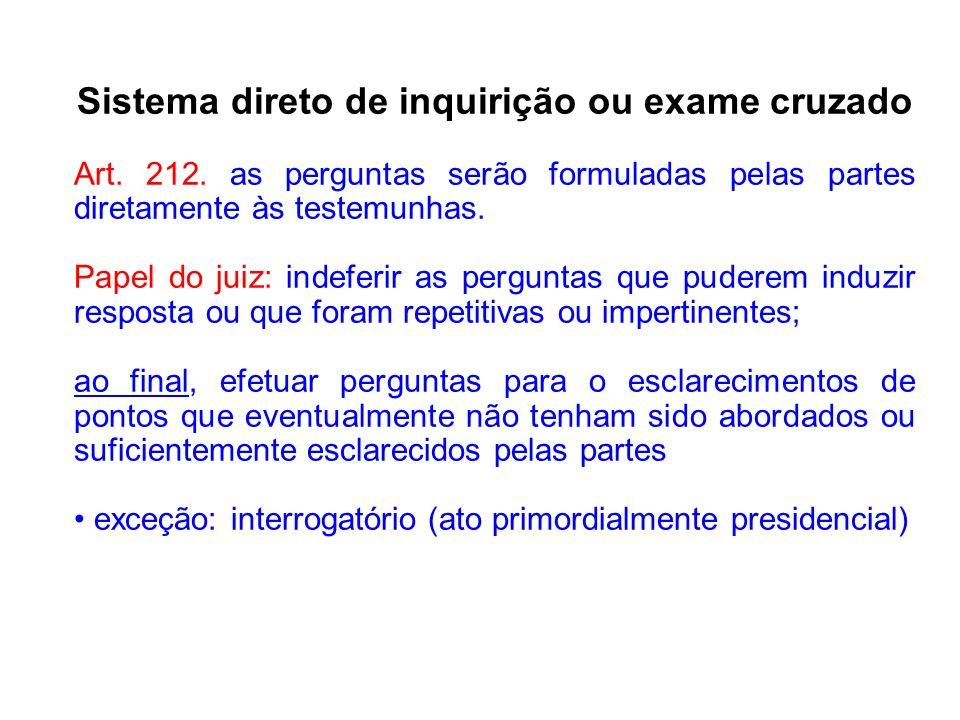 Sistema direto de inquirição ou exame cruzado
