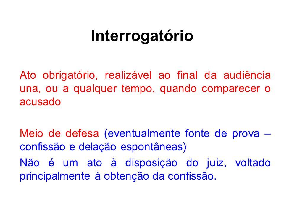 Interrogatório Ato obrigatório, realizável ao final da audiência una, ou a qualquer tempo, quando comparecer o acusado.