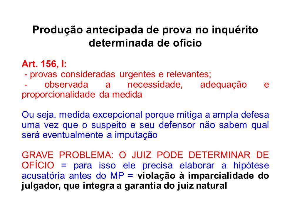 Produção antecipada de prova no inquérito determinada de ofício