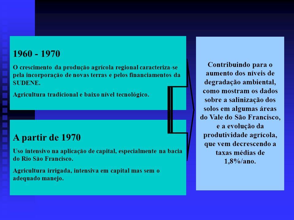 1960 - 1970 O crescimento da produção agrícola regional caracteriza-se pela incorporação de novas terras e pelos financiamentos da SUDENE.