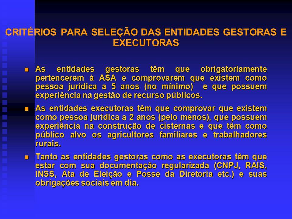 CRITÉRIOS PARA SELEÇÃO DAS ENTIDADES GESTORAS E EXECUTORAS