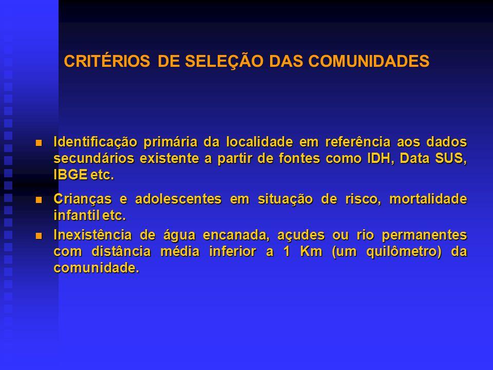 CRITÉRIOS DE SELEÇÃO DAS COMUNIDADES