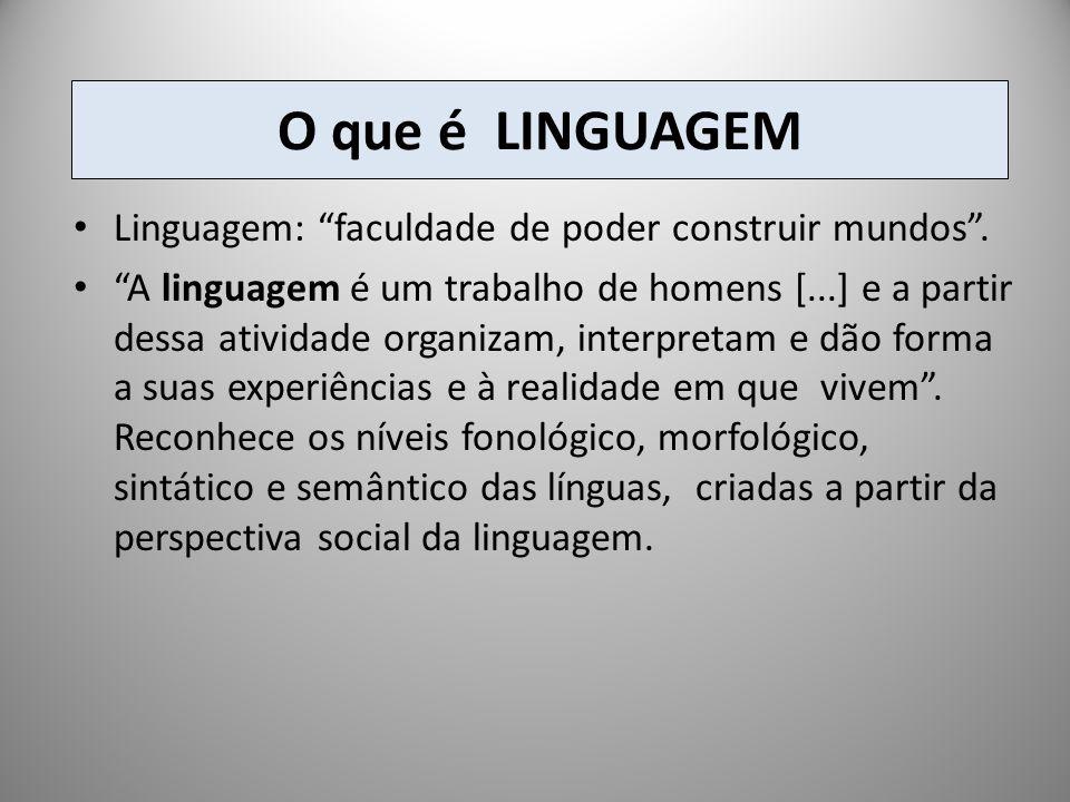 O que é LINGUAGEM Linguagem: faculdade de poder construir mundos .