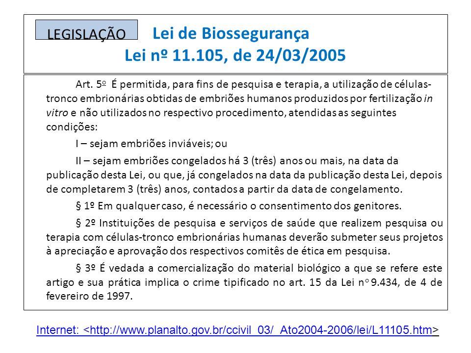 Lei de Biossegurança Lei nº 11.105, de 24/03/2005