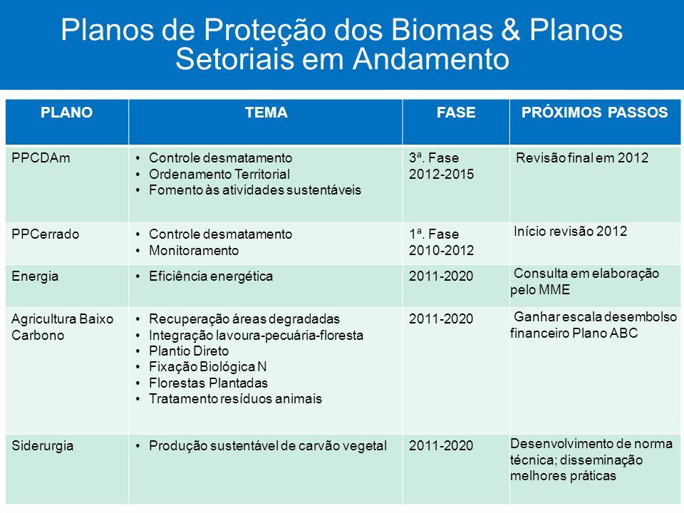 Planos de Proteção dos Biomas & Planos Setoriais em Andamento