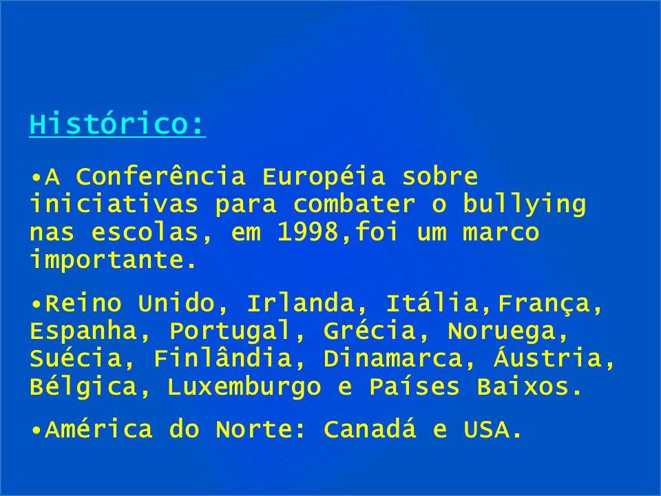 Histórico:A Conferência Européia sobre iniciativas para combater o bullying nas escolas, em 1998,foi um marco importante.