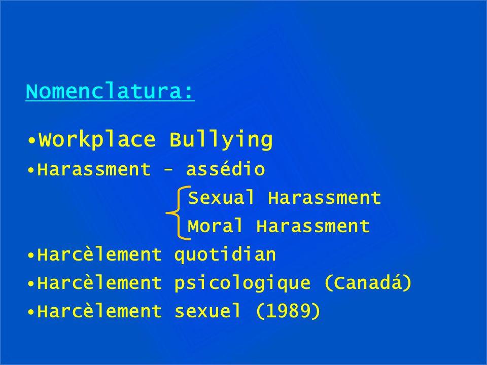 Nomenclatura: Workplace Bullying Harassment - assédio