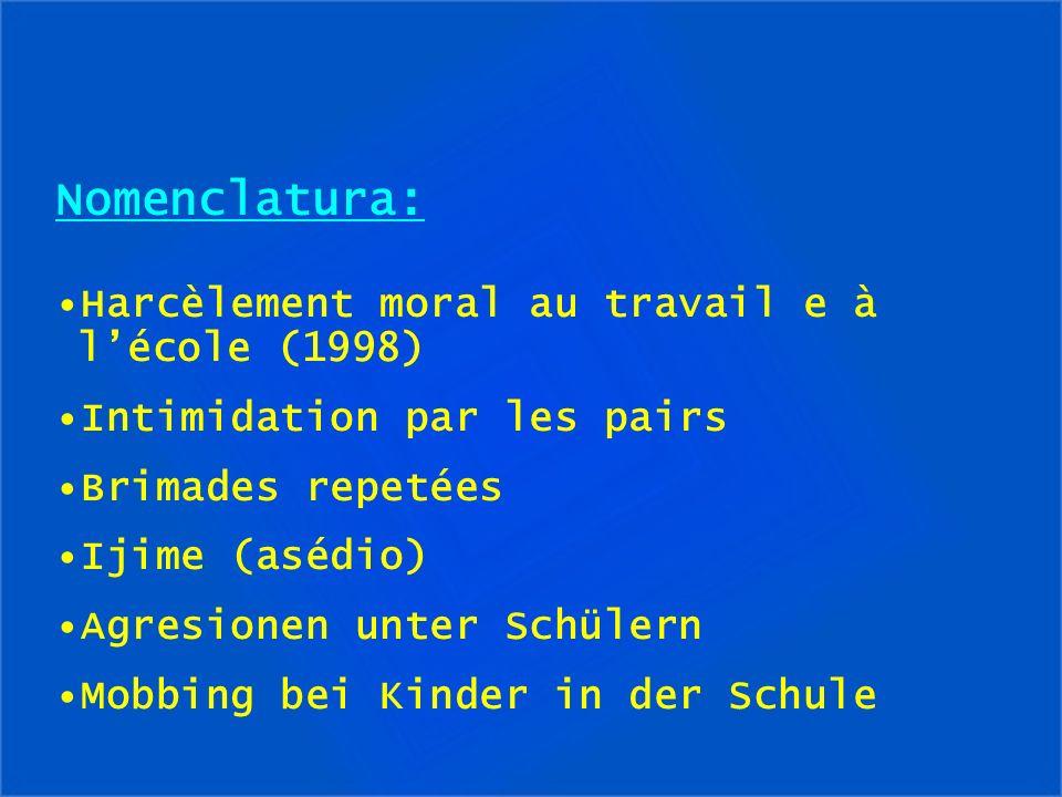 Nomenclatura: Harcèlement moral au travail e à l'école (1998)