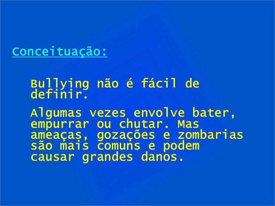 Conceituação:Bullying não é fácil de definir.