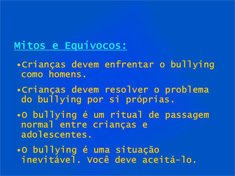 Mitos e Equívocos: Crianças devem enfrentar o bullying como homens.