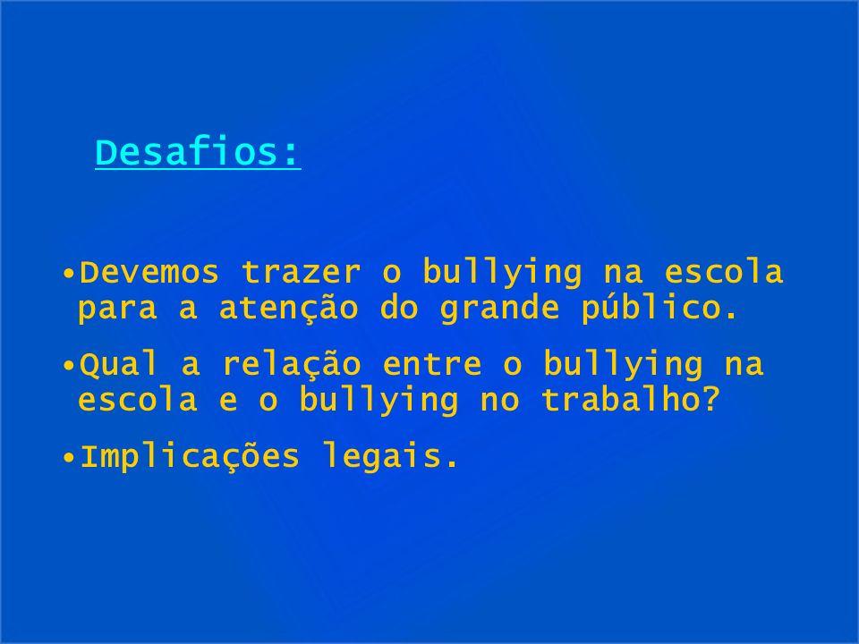 Desafios: Devemos trazer o bullying na escola para a atenção do grande público. Qual a relação entre o bullying na escola e o bullying no trabalho