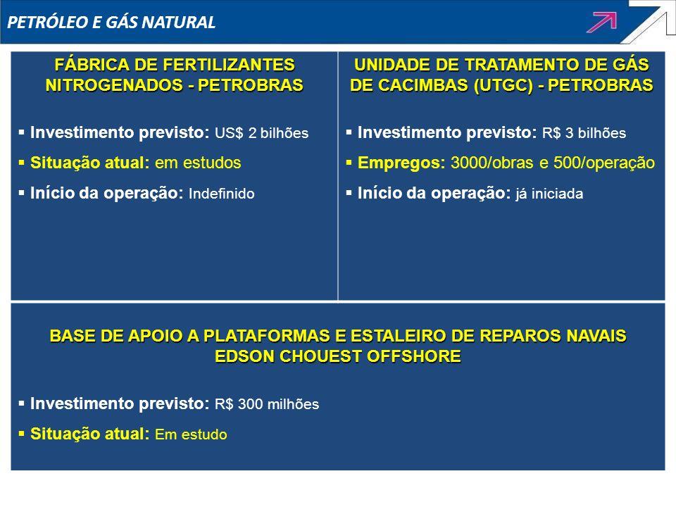 PETRÓLEO E GÁS NATURALFÁBRICA DE FERTILIZANTES NITROGENADOS - PETROBRAS. Investimento previsto: US$ 2 bilhões.