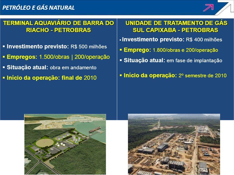 PETRÓLEO E GÁS NATURALTERMINAL AQUAVIÁRIO DE BARRA DO RIACHO - PETROBRAS. Investimento previsto: R$ 500 milhões.