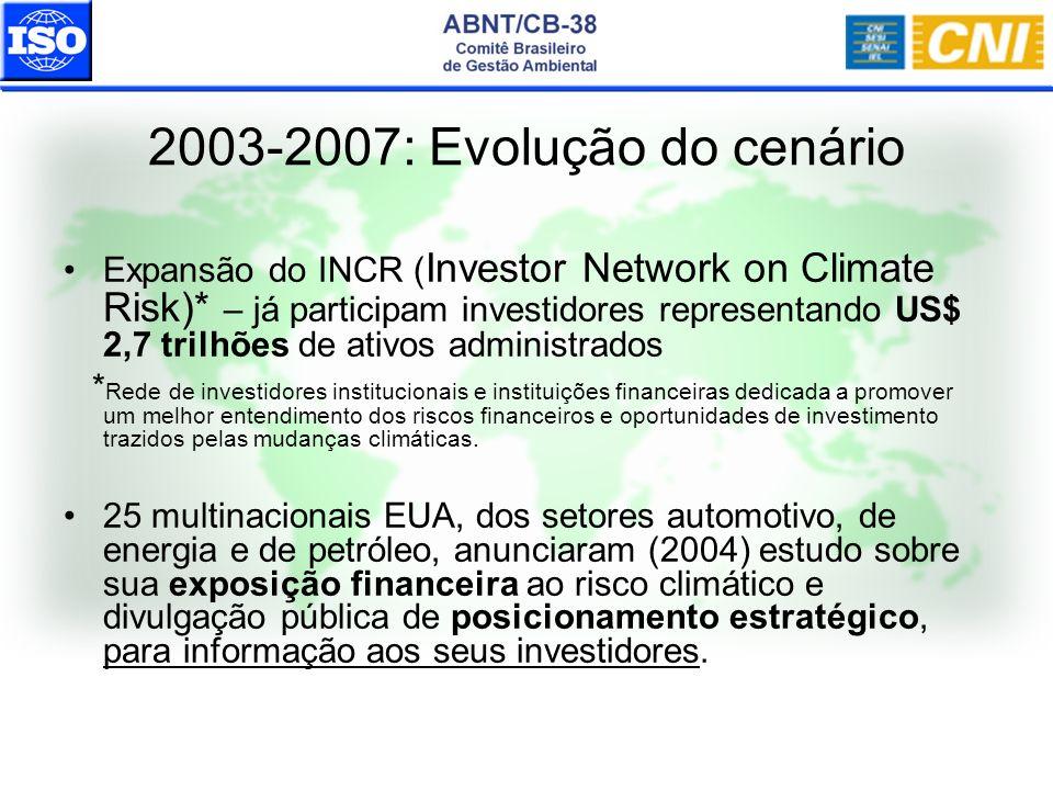 2003-2007: Evolução do cenário