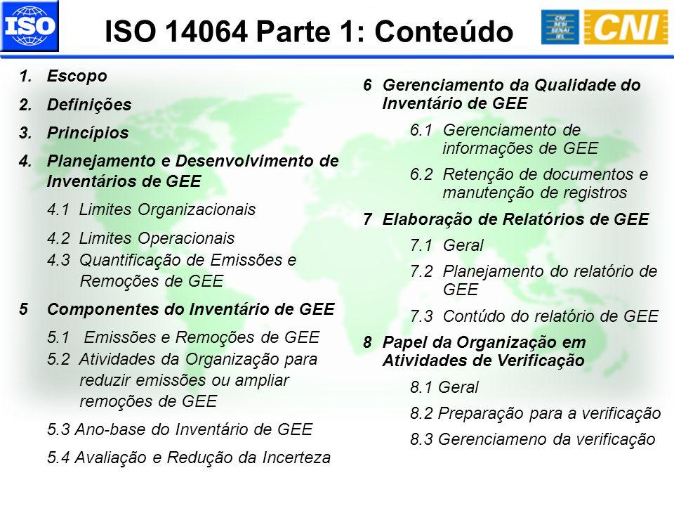 ISO 14064 Parte 1: Conteúdo Escopo Definições