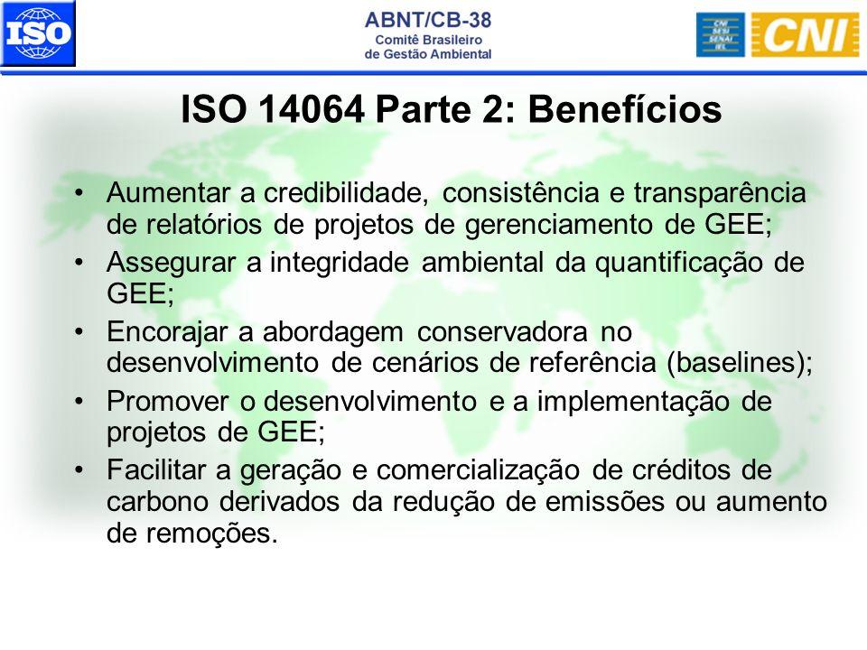ISO 14064 Parte 2: Benefícios Aumentar a credibilidade, consistência e transparência de relatórios de projetos de gerenciamento de GEE;