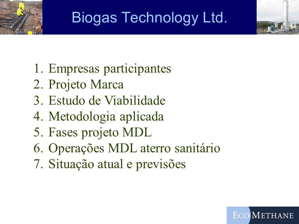 Biogas Technology Ltd. Empresas participantes Projeto Marca