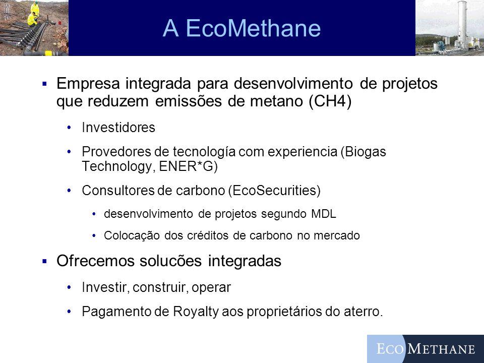 A EcoMethane Empresa integrada para desenvolvimento de projetos que reduzem emissões de metano (CH4)