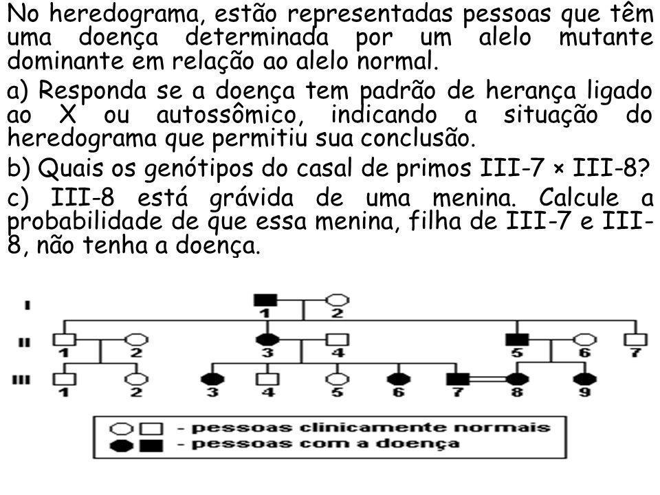 No heredograma, estão representadas pessoas que têm uma doença determinada por um alelo mutante dominante em relação ao alelo normal.