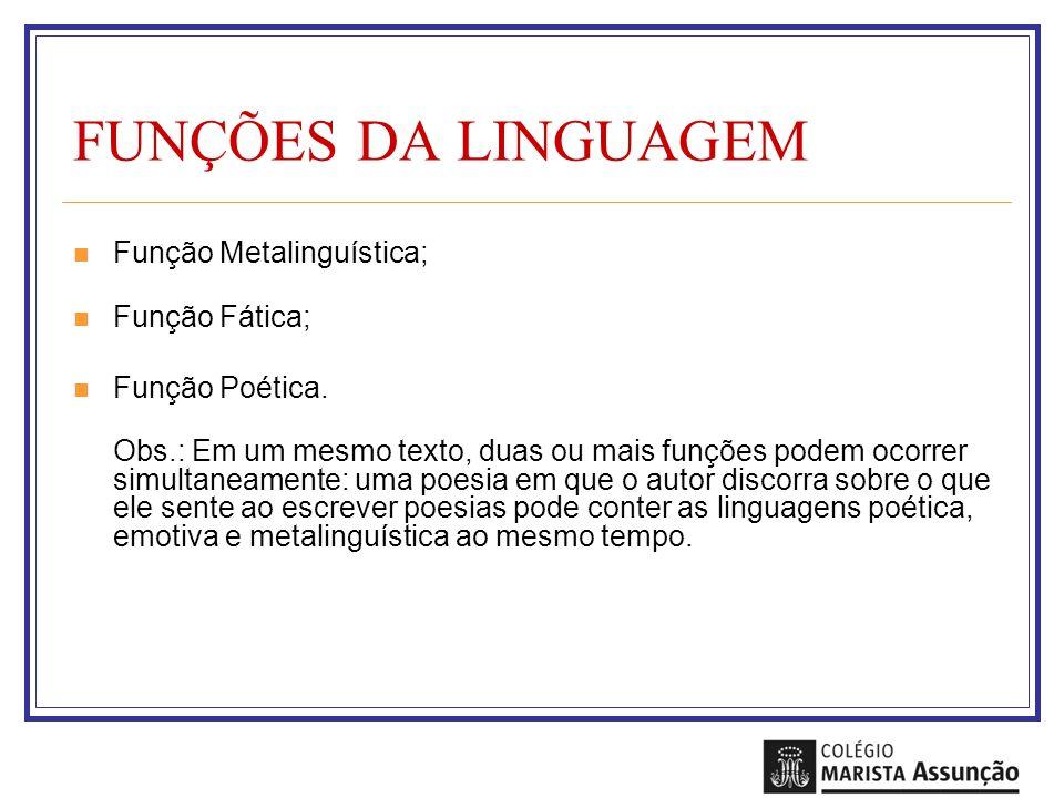 FUNÇÕES DA LINGUAGEM Função Metalinguística; Função Fática;