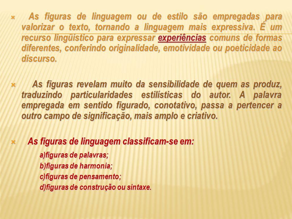 As figuras de linguagem classificam-se em: a)figuras de palavras;