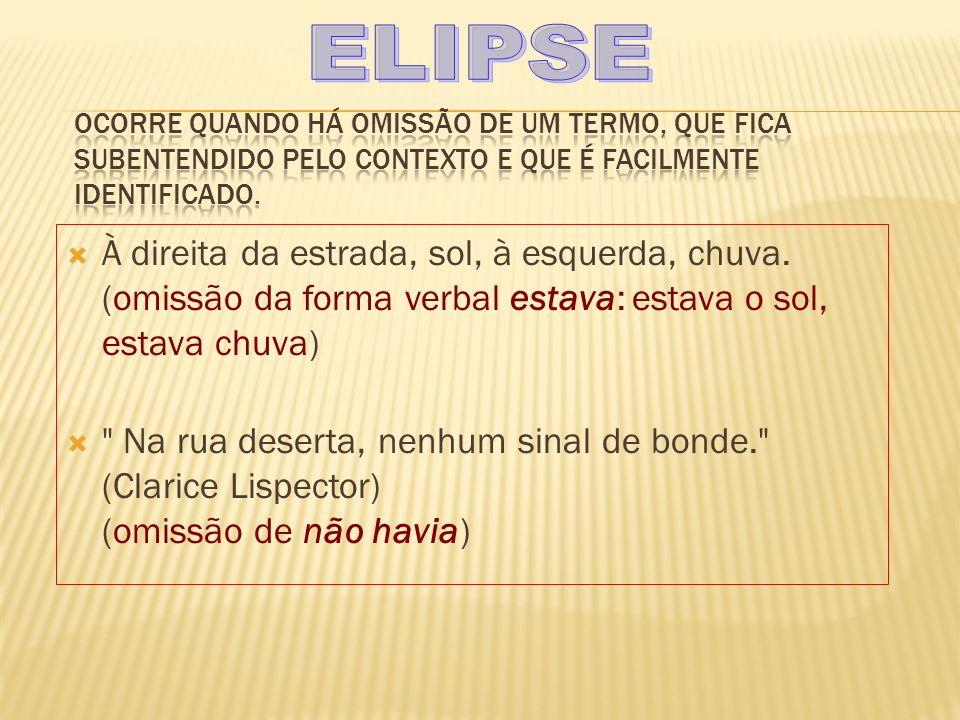 ELIPSE Ocorre quando há omissão de um termo, que fica subentendido pelo contexto e que é facilmente identificado.
