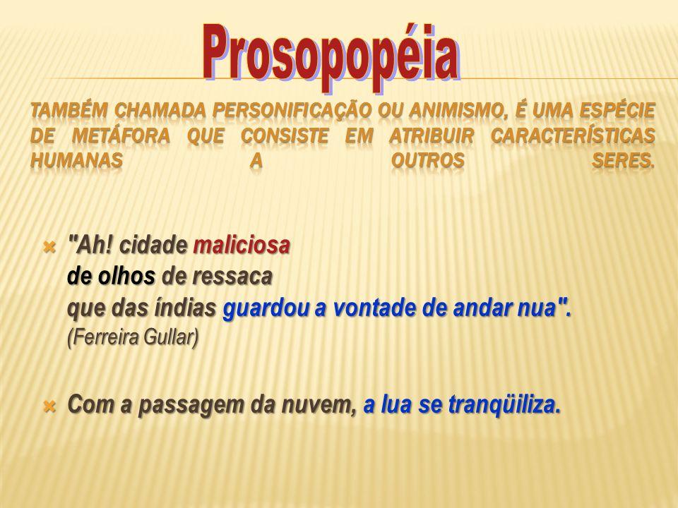Prosopopéia Também chamada personificação ou animismo, é uma espécie de metáfora que consiste em atribuir características humanas a outros seres.