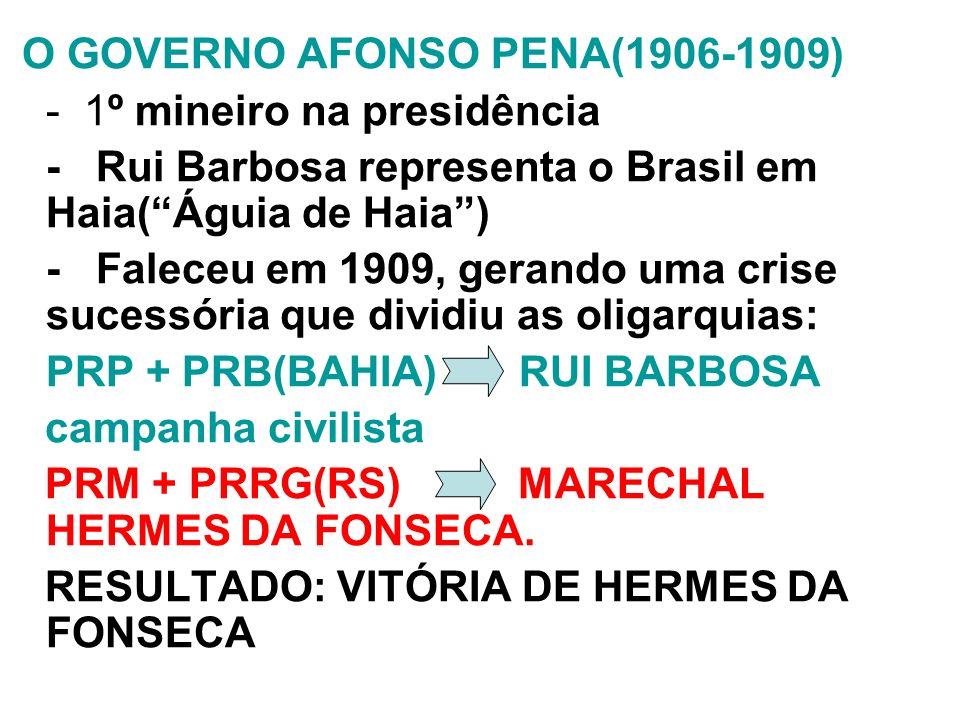 O GOVERNO AFONSO PENA(1906-1909)
