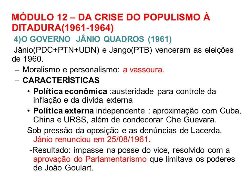 MÓDULO 12 – DA CRISE DO POPULISMO À DITADURA(1961-1964)