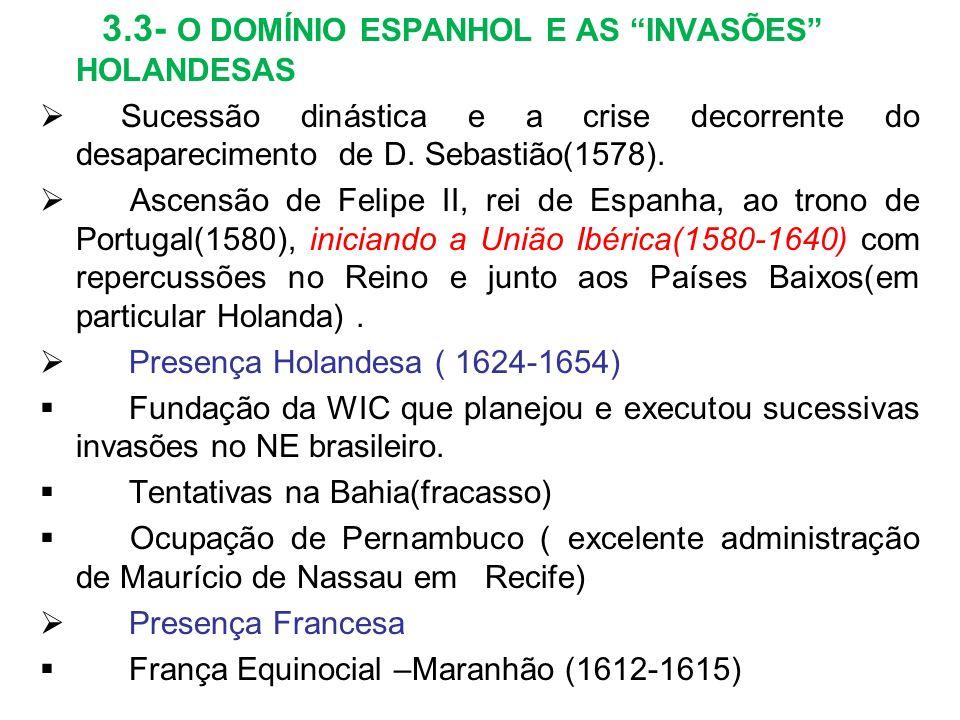 3.3- O DOMÍNIO ESPANHOL E AS INVASÕES HOLANDESAS