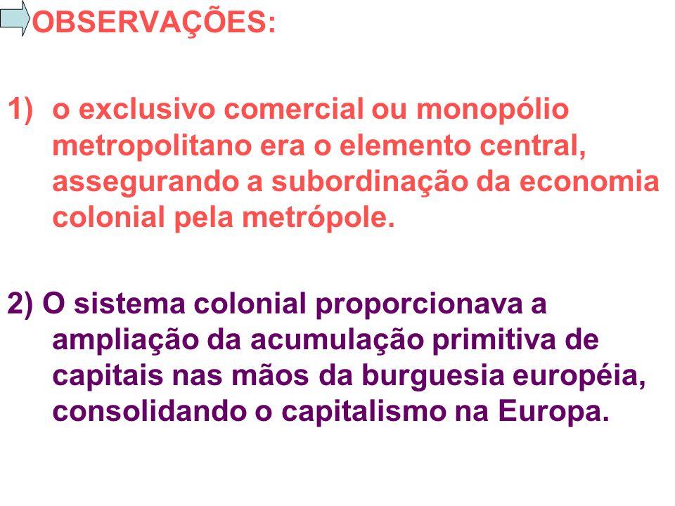 OBSERVAÇÕES: o exclusivo comercial ou monopólio metropolitano era o elemento central, assegurando a subordinação da economia colonial pela metrópole.