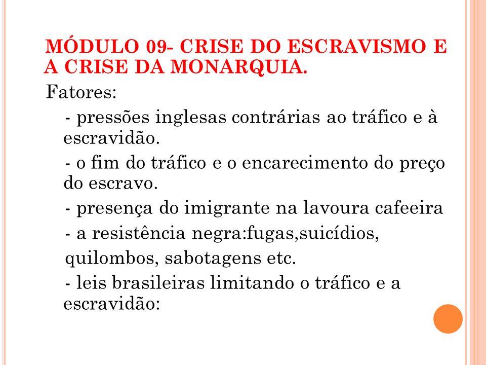 MÓDULO 09- CRISE DO ESCRAVISMO E A CRISE DA MONARQUIA