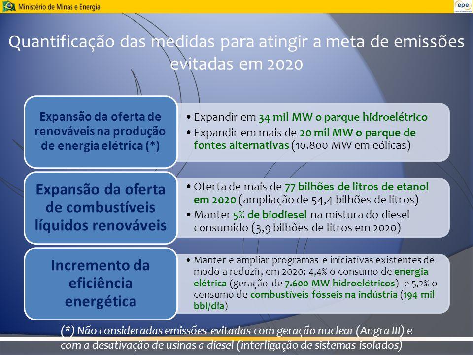 Quantificação das medidas para atingir a meta de emissões evitadas em 2020