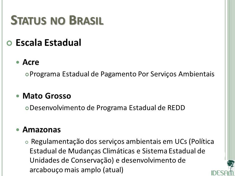 Status no Brasil Escala Estadual Acre Mato Grosso Amazonas