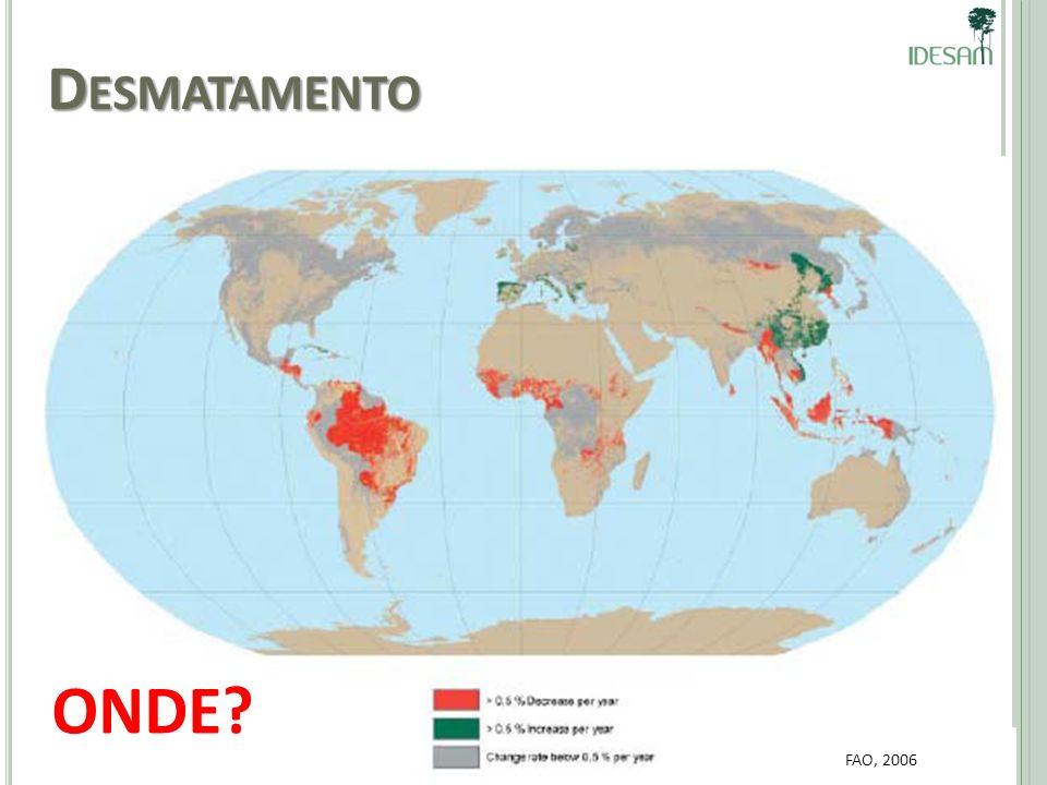 Desmatamento FAO, 2006 ONDE