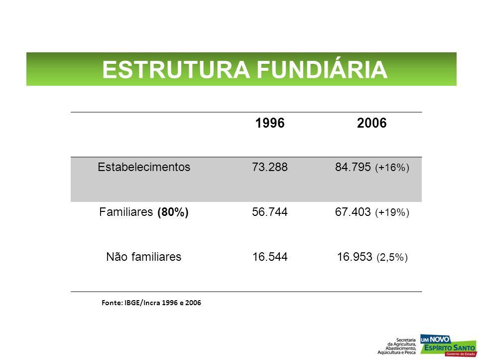 ESTRUTURA FUNDIÁRIA 1996 2006 Estabelecimentos 73.288 84.795 (+16%)