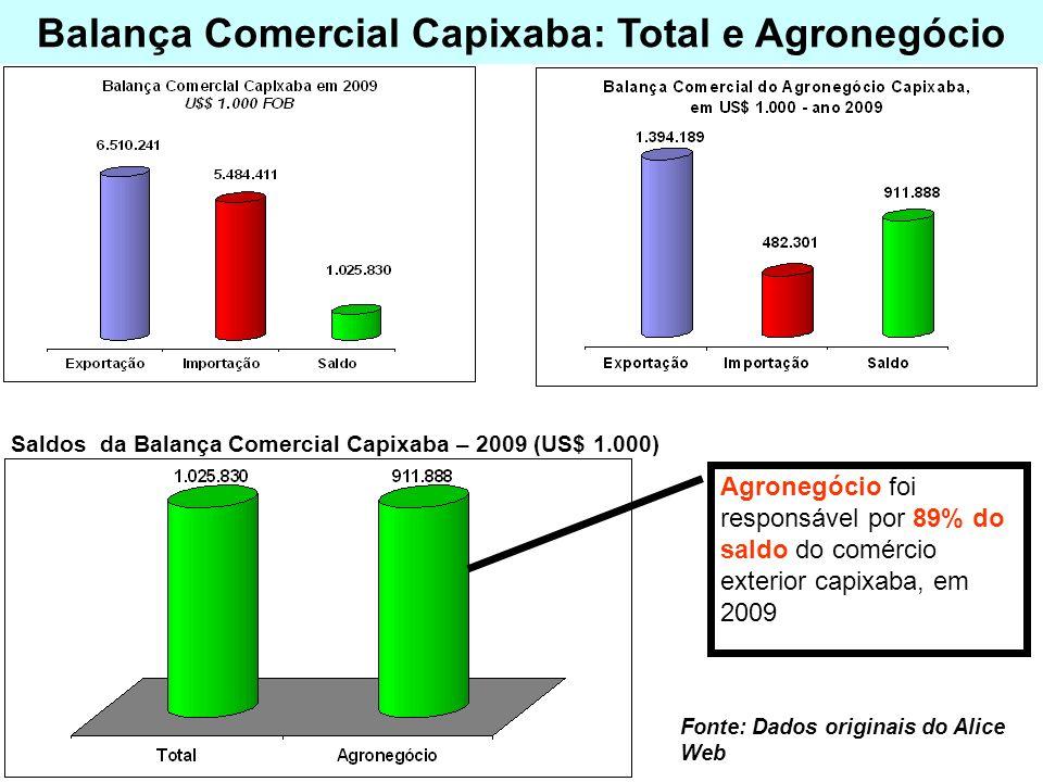 Balança Comercial Capixaba: Total e Agronegócio