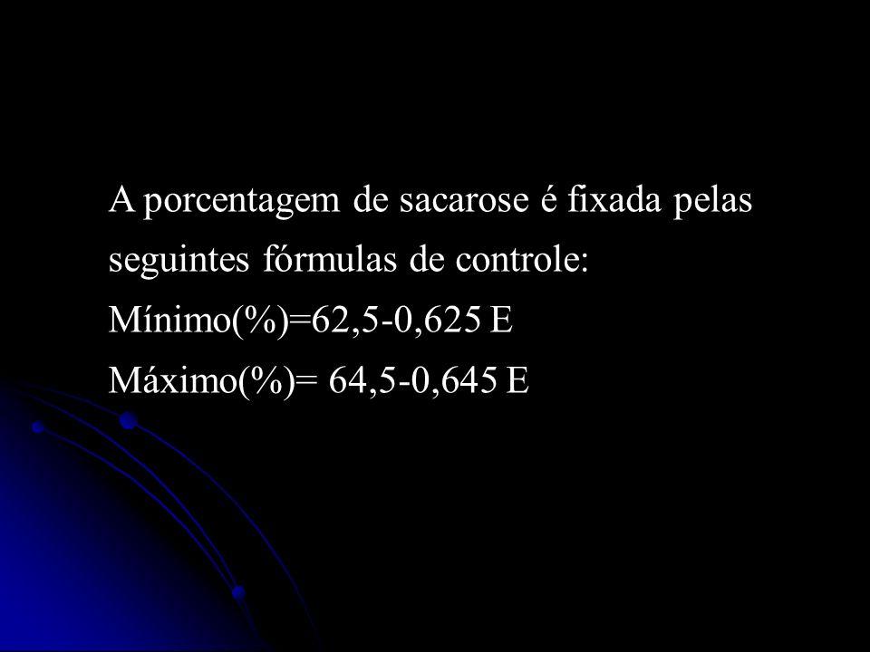 A porcentagem de sacarose é fixada pelas seguintes fórmulas de controle: