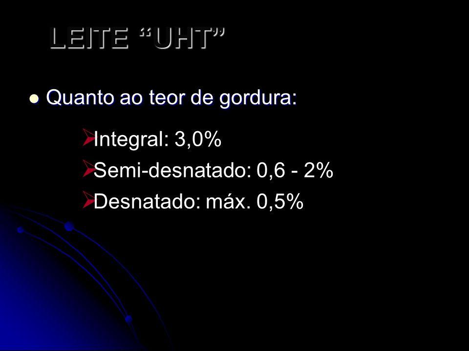 LEITE UHT Quanto ao teor de gordura: Integral: 3,0%