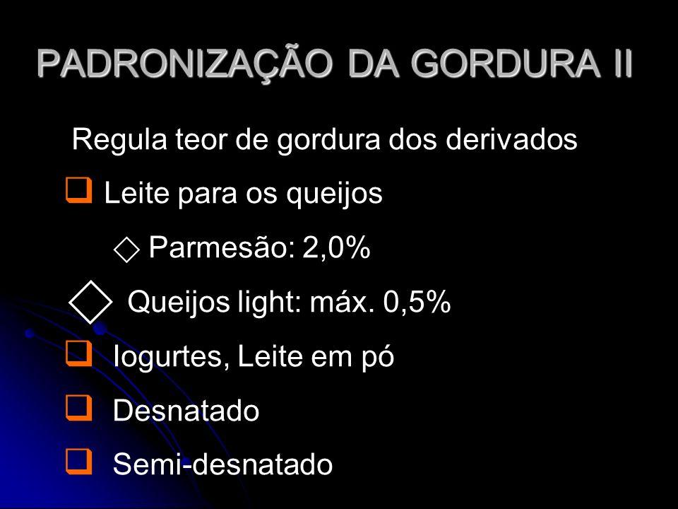 PADRONIZAÇÃO DA GORDURA II