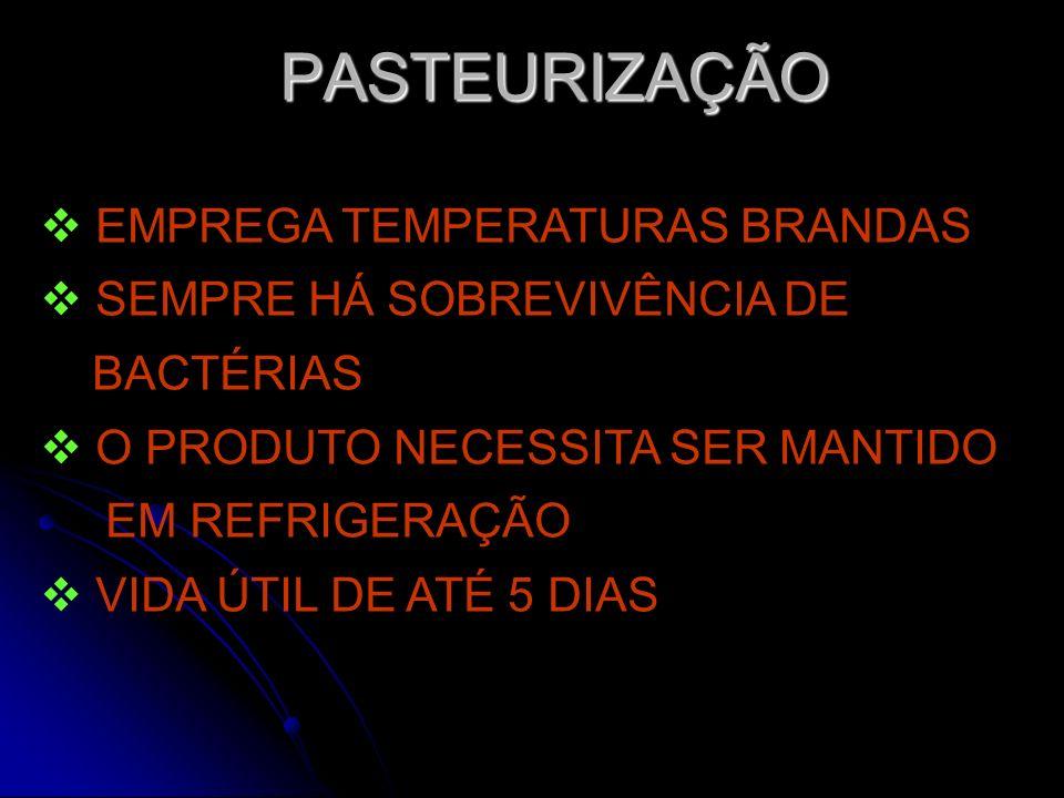 PASTEURIZAÇÃO EMPREGA TEMPERATURAS BRANDAS SEMPRE HÁ SOBREVIVÊNCIA DE