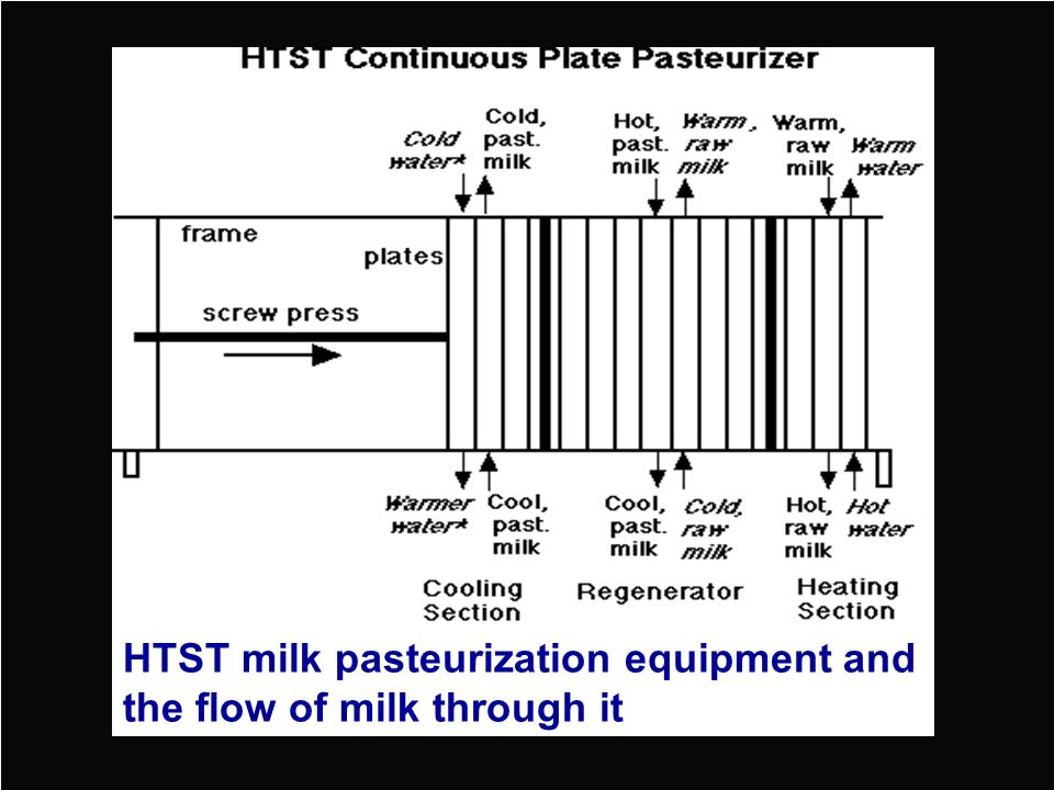 HTST milk pasteurization equipment and the flow of milk through it